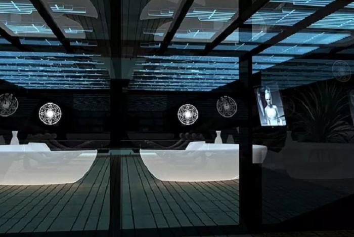 du thuyền Black Swan chi tiết nội thất Một trong những yếu tố thu hút khác của du thuyền Thiên Nga Đen chính là kiểu dáng tam giác độc lạ của các cửa sổ tàu. Những hình tam giác có kích thước khác nhau này cho phép ánh sáng xuyên qua tàu đồng thời tạo cảm giác rằng không gian tầng thượng rộng lớn đang tiếp giáp với bầu trời.