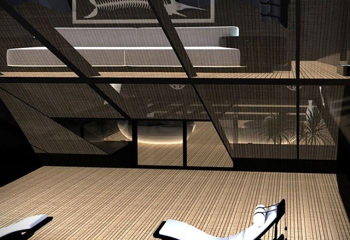 Du thuyền Black Swan có sức chứa tối đa 12 khách và 18 thủy thủ đoàn. Trong đó, cabin chính và 6 cabin dành cho khách được trang trí bằng tông màu đất với những bức tường đen cùng những điểm nhấn bằng kính mang đến một phong cách hiện đại, tinh tế mà không kém phần sang trọng.